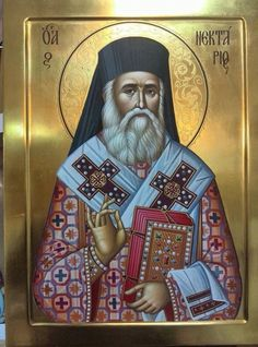 A Great Miracle of St. Nektarios - The Healing of Elder Nektarios Vitalis Byzantine Icons, Byzantine Art, Religious Icons, Religious Art, Greek Icons, Russian Icons, Religious Paintings, Bible Pictures, Jesus Christus