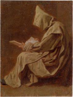 Jean Restout le jeune, Seated Carthusian Holding an Open Book
