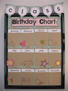 this one is more for when i become an accredited teache and not just a daycare worker. Class Birthday Chart/Teacher's Pet project by AR Classroom Birthday, Birthday Wall, Birthday Board, School Classroom, Diy Birthday, Preschool Birthday, Classroom Walls, Classroom Themes, Daycare Themes