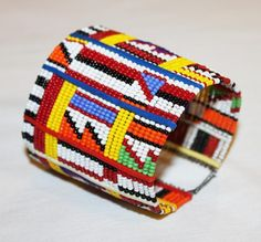AFRICAN+MAASAI+MASAI+BEADED+TRADITIONAL+ETHNIC+TRIBAL+WIRE+BRACELET+-+KENYA+#15+#Unbranded