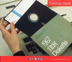 #CronologiaDigital ¿Recuerdas los disquetes? #IBM los invento en 1967 para el almacenamiento de datos. ¿Los usaste?