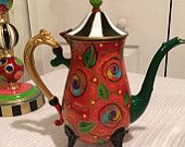 Painted silver teapot tea pot red flowers whimsical