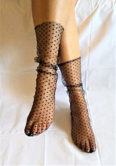 -Material:tulle - One Size (fits sizes 9 and 10 US women's shoe size) - 1 Pair - Hand wash in cold -Length: Medium ( Approximately -Pattern: Star water, lay flat to dry -Color:black Silk Socks, Sheer Socks, Lace Socks, Fashion Socks, Fashion Outfits, Socks And Sandals, Heels With Socks, Sandals Outfit, Best Walking Shoes