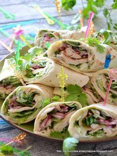 tortilla-z-kurczakiem-i-warzywami Tortilla, Wrap Sandwiches, Best Appetizers, Party Snacks, Fresh Rolls, Food Videos, Tapas, Food And Drink, Healthy Recipes