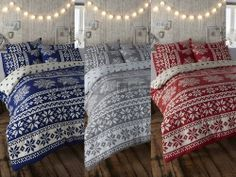 RETRO NORDIC ALPINE SNOWFLAKE PRINT REVSERSIBLE DUVET COVER BED SET