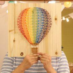 String art - air balloon. Craft. Handmade