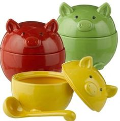 Grasslands Road Pig Condiment Bowl & Ladle - Set of Three Pig Kitchen, Kitchen Stuff, Kitchen Things, Kitchen Sets, Country Kitchen, Kitchen Tools, Kitchen Gadgets, Kitchen Decor, Mini Pigs