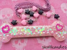 Creepy cute pastel goth resin bone pendant necklace with beaded chain