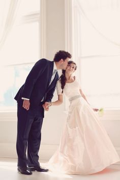 A stylish bride & groom the day after their wedding. The bride looks stunning with a fishtail braid & unique blush pink wedding dress. Photos by Jessica Janae. Modest Wedding Dresses, Elegant Wedding Dress, Wedding Gowns, Simple Dresses, Trendy Dresses, Bridesmaid Dresses, Wedding Wishes, Wedding Pics, Wedding Bells
