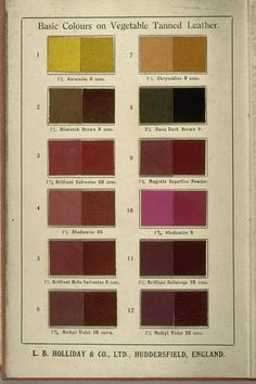 L.B. Holliday Co. Ltd. Dyes for Leather Sales Catalog