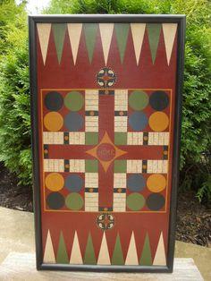 Primitive Wood Parcheesi Game Board Folk Art Gameboardhttps://www.etsy.com/shop/JohnnyUNamath $88
