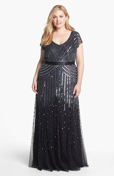 MY FAVORITE SO FAR!!!!  And it looks good in the bigger size. Adrianna Papell Sequin Mesh Gown (Plus Size) | Nordstrom