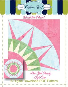 NEW YORK BEAUTY 2 Quilt Block Pattern Instant by PatternBrat, $2.49