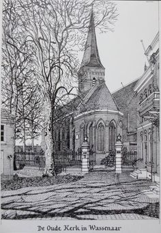 Kees Momma, Dutch autistic artist, The old church Wassenaar, realistic pencil drawing, click for a bigger version