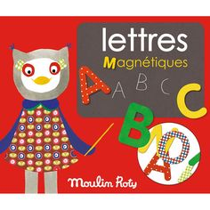 Set litere magnetice din lemn Wooden Puzzles, Wooden Boxes, French Fabric, Learning The Alphabet, Le Moulin, Shades Of Yellow, Plush Dolls, Toddler Toys, Magnets