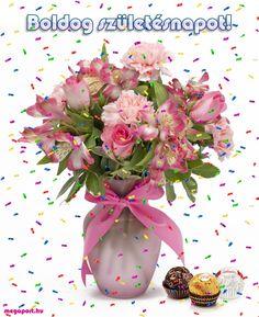 """Képtalálat a következőre: """"boldog születésnapot képek"""" Name Day, Floral Wreath, Happy Birthday, Wreaths, Table Decorations, Humor, Africa, Happy Brithday, Floral Crown"""