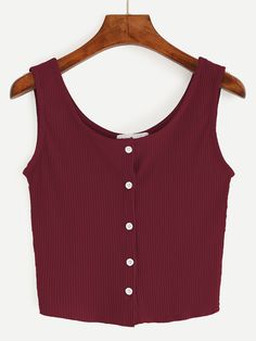 SheIn offers Burgundy Button - Tank Tops - Ideas of Tank Tops - Shop Burgundy Button Front Ribbed Tank Top online. SheIn offers Burgundy Button Front Ribbed Tank Top & more to fit your fashionable needs. Alternative Mode, Alternative Fashion, Cute Tank Tops, Black Tank Tops, Look Fashion, Fashion Outfits, Belly Shirts, Summer Outfits, Cute Outfits