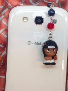 Houston Texans cell phone charm dust plug by PmBSparklesLinks, $10.00