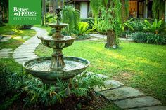Outdoors fountains provide: a. Flow b. White noise c. A bath for birds Something else? Let us know in the comments. #http://BHGREpic.twitter.com/RxB0RPaAoh