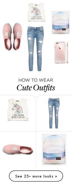 """""""How to wear cute school outfits"""" by ivanachristya on Polyvore featuring Current/Elliott, Vans, JanSport and Forever 21"""