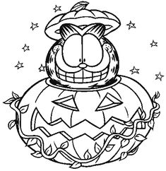 Youre Going To Need A Lot Of Orange Colour In This Garfield Halloween Pumpkin Colouring Page