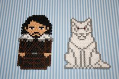 Jon Snow Game of Thrones magnets hama perler bead sprites by DecorarteLeon