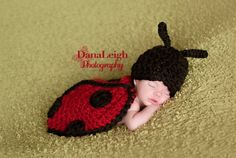 BEST photo idea ever!  Can't wait to have a little girl!  Crochet Ladybug Photo Prop, Newborn Photography Prop, Crochet Ladybug, Newborn Body Cape. $20.00, via Etsy.