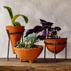 Ceramic Planter Terracotta Bowl cast iron stand by GlinkaDesign
