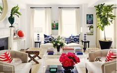 love all the bold colors in the room.