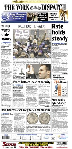 York Dispatch front page for Jan. 29, 2013