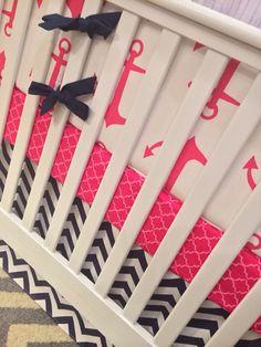 FREE Changing pad cover Crib bedding Baby Bedding Crib Set  Cot Set - Hot Pink Anchors and Navy chevron