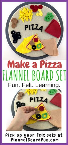 Felt Pizza Toy--a Fine Motor Activity for Preschool kids! This yummy Waldorf - style set of felt pizza and toppings is made of a soft, beautiful, high quality wool-blend felt that children love to handle. Accompanied by a list of suggested picture books, as well as lyrics to related rhymes, songs, and poems, this simple-to-use, open-ended early learning toy makes a perfect gift for young fans of pizza, cooking, and food-related fun.