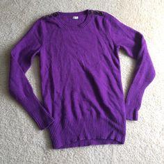 Purple J. Crew sweater J. Crew sweater •Merino wool blend •Purple• size Small• should button detail• good condition J. Crew Sweaters Crew & Scoop Necks