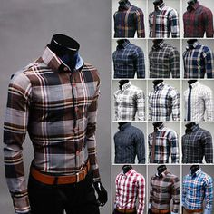 T180 New Men's Fashion Luxury Casual Plaids Slim Stylish Dress Shirts 14 Color | eBay