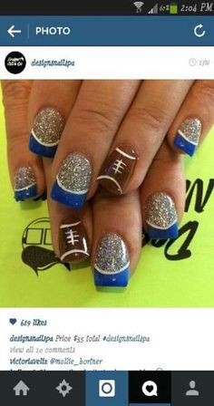 Nails Black Green Red 34 Ideas For 2019 - Top-Trends Football Nail Designs, Football Nail Art, Blue Football, Football Team, Love Nails, How To Do Nails, Fun Nails, Sport Nails, Soccer Nails