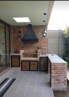 Outdoor Grill, Outdoor Kitchen Patio, Outdoor Kitchen Design, Parrilla Exterior, Built In Braai, Brick Bbq, Model House Plan, Grill Design, Industrial House