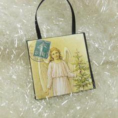 Woodland Angel Ornament Christmas Angel with Tree Vintage