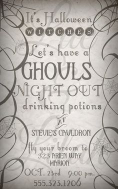 It's Halloween Witches  Ghouls Night Out by LucLilahEvents on Etsy
