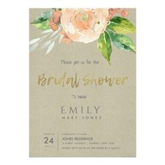 WATERCOLOUR PEACH FLOWER FOLIAGE BRIDAL SHOWER CARD - anniversary gifts ideas diy celebration cyo unique