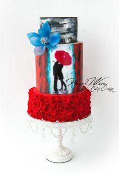 Kissing In The Rain - Cake by Hazel Wong Cake Design