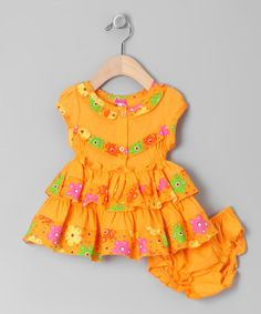 Take a look at this Orange Ruffle Button Dress & Bloomers - Infant by LELE Baby on #zulily today!