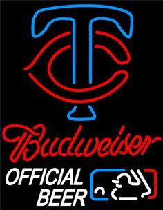 Budweiser Minnesota Twins Logo Neon Sign, Budweiser with MLB