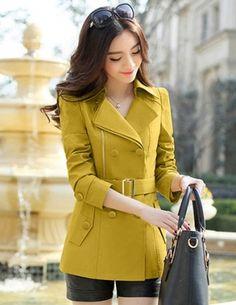 Áo khoác kaki màu vàng phối dây kéo - A8664
