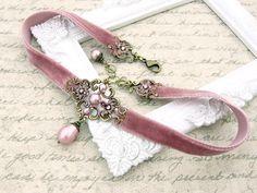 Dusty Pink Velvet Choker Antique Pink Swarovski by ArdentHearts