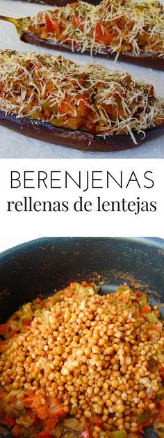 berenjenas rellenas de lentejas receta paso a paso Clean Recipes, Veggie Recipes, Mexican Food Recipes, Vegetarian Recipes, Cooking Recipes, Healthy Recipes, Healthy Food, Dinner Sides, Going Vegan