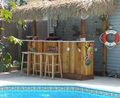 Does your Backyard Beach Getaway include a bar? Look at these fun Tiki bars and beach bars -they provide the perfect spot to sip on your su. Outdoor Tiki Bar, Outdoor Kitchen Bars, Patio Kitchen, Outdoor Decor, Outdoor Furniture, Backyard Beach, Cozy Backyard, Backyard For Kids, Tiki Bars
