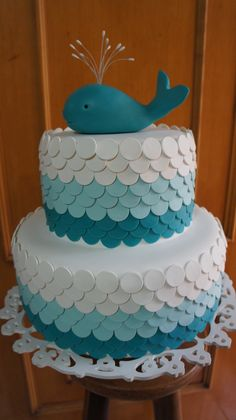What a lovely whale cake! Whale Birthday, 1st Boy Birthday, Birthday Parties, Birthday Cake, Whale Cakes, Ocean Cakes, Cupcakes Decorados, Snowman Cake, Naked Cakes
