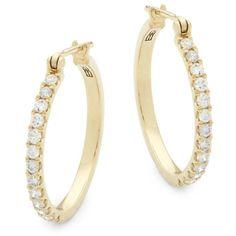 Effy Women's 14K Yellow Gold & Diamond Hoop Earrings ($960) ❤ liked on Polyvore featuring jewelry, earrings, no color, gold jewelry, 14k diamond earrings, 14k yellow gold earrings, diamond hoop earrings and gold hoop earrings