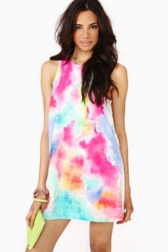 rainbow tie dye shift dress from Nasty Gal Dress Outfits, Dress Up, Cute Outfits, Fashion Outfits, Shift Dresses, Summer Dresses, Summer Clothes, Pretty Dresses, Beautiful Dresses
