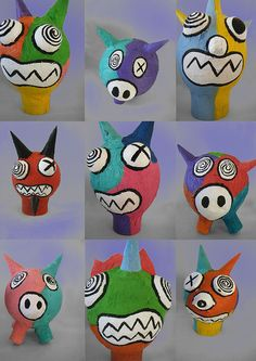 Big heads - Big heads Crazy papier mache heads >>> Would love to make these into sugar skulls!